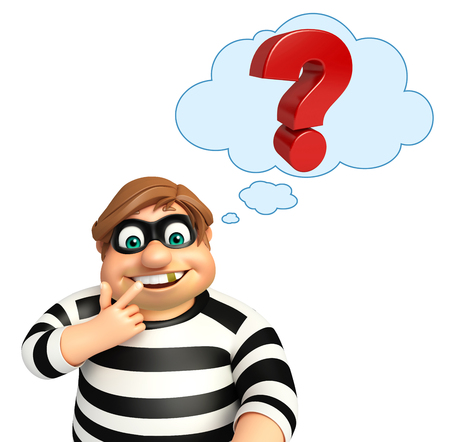 Thief with Question mark Stock Photo