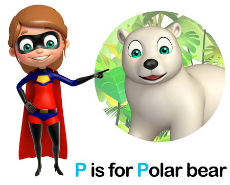 super girl: super girl pointing pollar bear Stock Photo