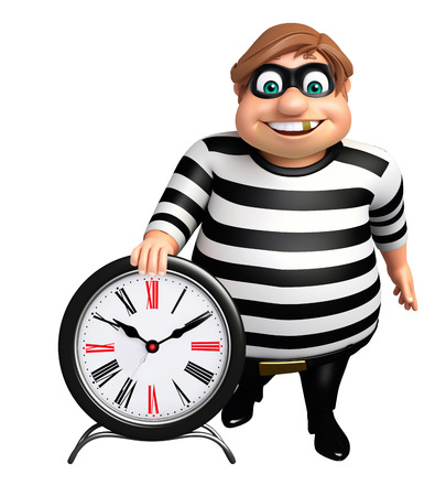 plunder: Thief with Clock Stock Photo