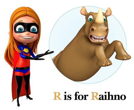 super girl: Super girl pointing Raihno