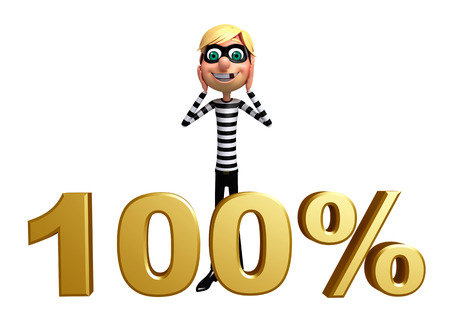 burgle: Thief with 100% sign Stock Photo