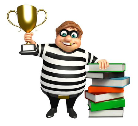 kidnapper: Thief with Book stack & winning cup