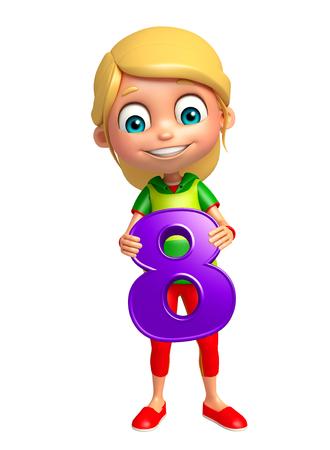 digit 8: kid girl with 8 Digit
