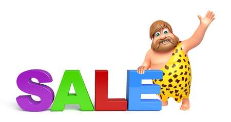 threaten: Caveman with Sale sign Stock Photo