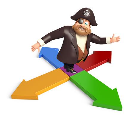 tricorne: Pirate with Arrow sign Stock Photo