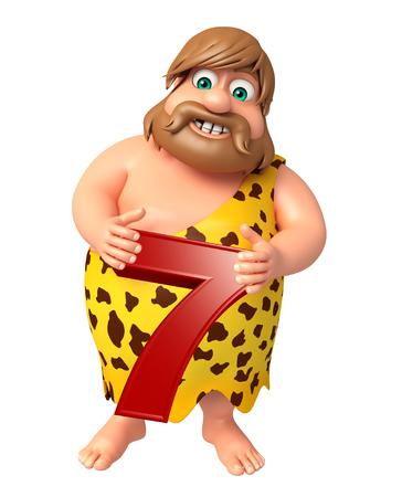 lanzamiento de jabalina: Hombre de las cavernas con el dígito 7