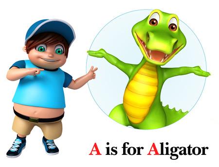 Kid boy pointing Alligator Stock Photo
