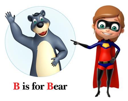 super girl: Super girl pointing Bear