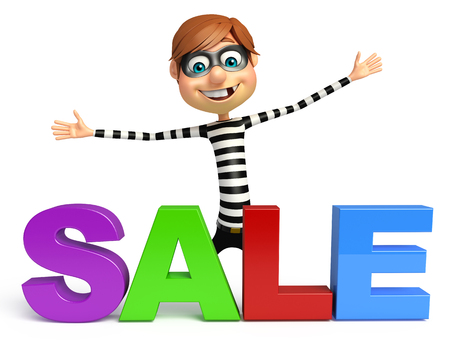 Thief with Sale sign Stock Photo