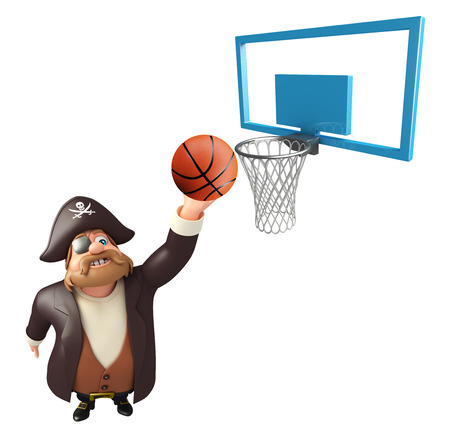 tricorne: Pirate with Basket & basketball Stock Photo