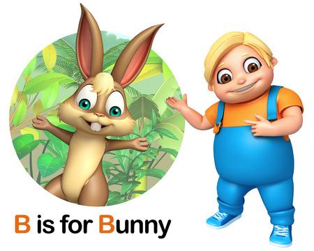 kid pointing: Kid boy pointing Bunny