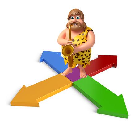 Caveman with Sexophone & Arrow Stock Photo