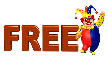 free sign: Clown with Free sign