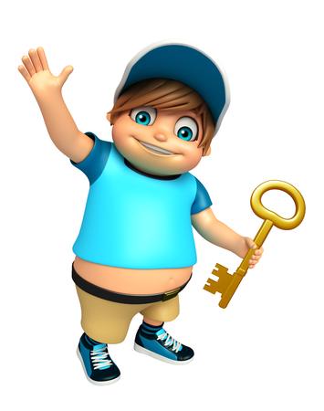 kid boy with Key