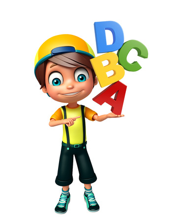 abcd: kid boy with ABCD sign Stock Photo