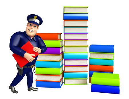 Police with Book stack & book