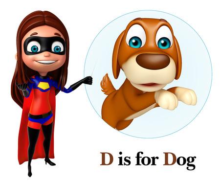 Super girl pointing Dog