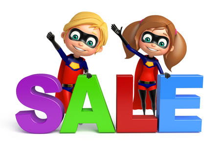 superboy: Superboy and Supergirl with Sale sign