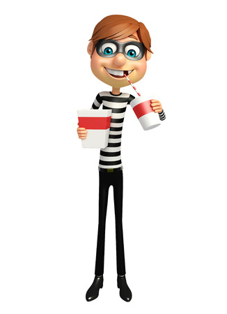 Thief with Popcorn and soft drink