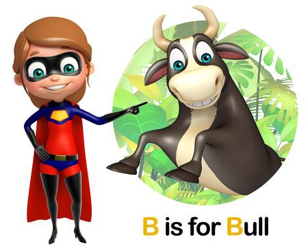 super girl: Super Girl pointing Bull Stock Photo