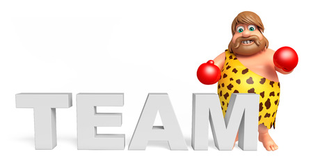 paleolithic: Caveman with Boxing glubs & team sign Stock Photo