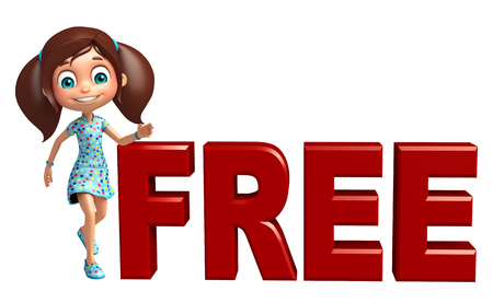 free education: kid girl with Free sign