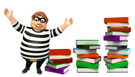 kidnapper: Thief with Book stack