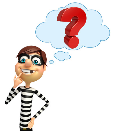 loot: Thief with Question mark Stock Photo