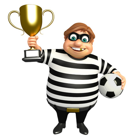 Thief with Winning cup & football Stock Photo