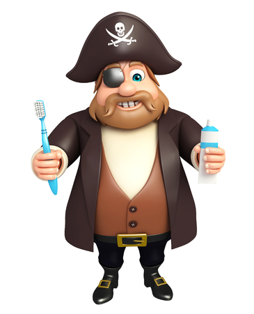 tricorne: 3d rendered illustration of pirate with toothbrush