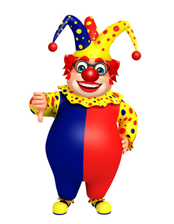 Clown with thumbs down pose Stock Photo