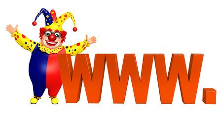 www: Clown with WWW sign