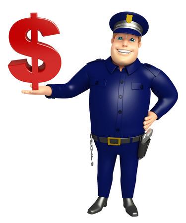 ドル記号と警察 写真素材