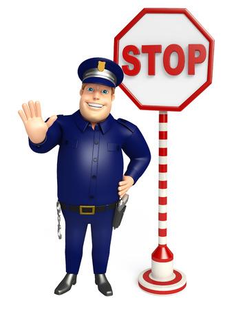 一時停止の標識で警察 写真素材