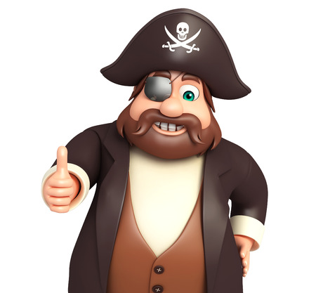 tricorne: Pirate with Thumbsup pose Stock Photo