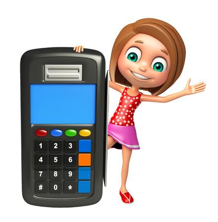 kid girl with Swap machine