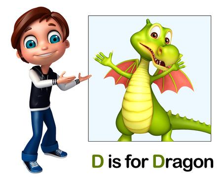 Kid boy pointing Dragon Stock Photo