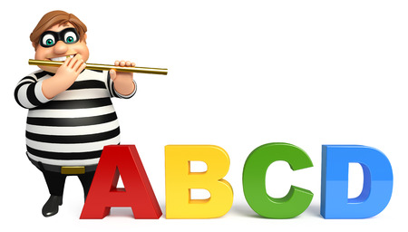 abcd: Thief with Flute & ABCD sign