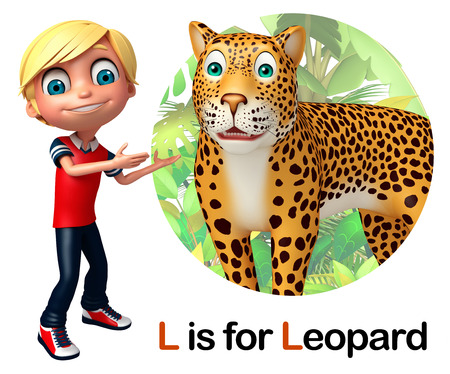 Student Life: Kid boy pointing Leopard