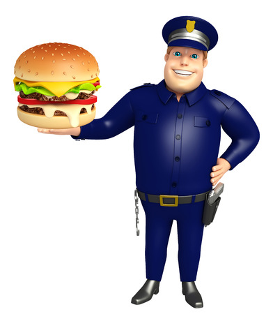 Police with Burger Stock Photo