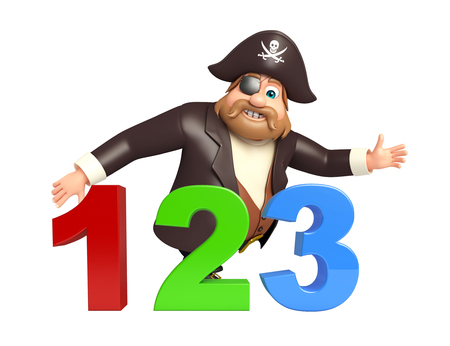 cross bone: Pirate with 123 sign