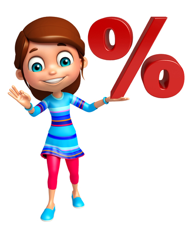 the percentage: kid girl with Percentage sign