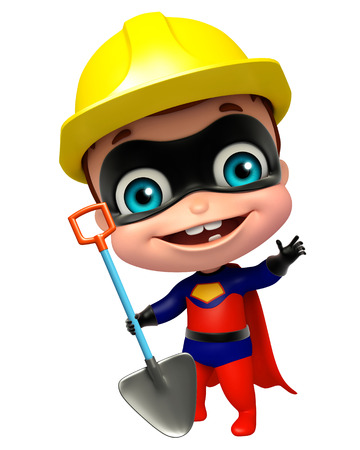 cute superbaby with Worker hat and Digging shovel