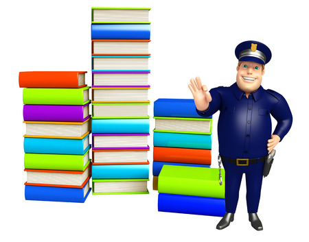 Police with Book stack Stock Photo