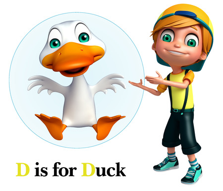 kid pointing: Kid boy pointing Duck Stock Photo