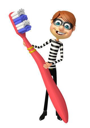 burgle: Thief with Tooth brush Stock Photo