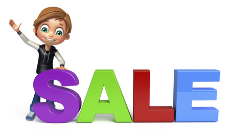 kid boy with sale sign