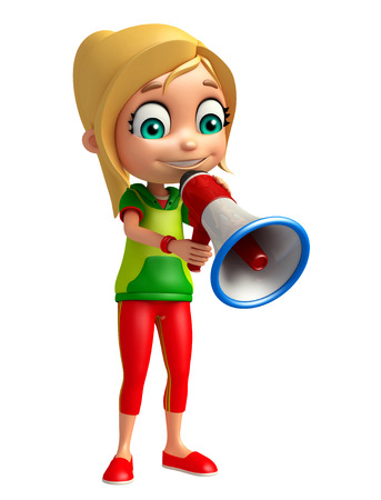 clipart speaker: kid girl with Loud speaker