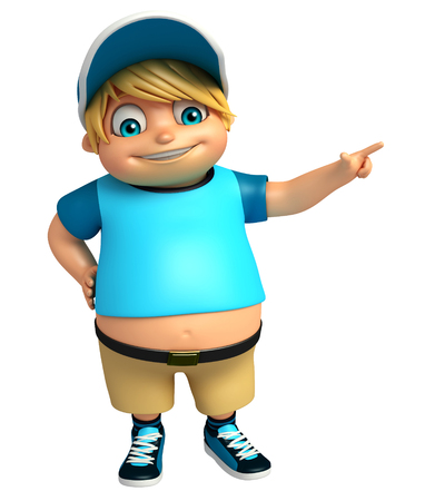 kid boy with Pointing Pose Stock Photo