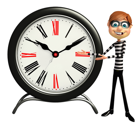 kidnapper: Thief with Clock Stock Photo